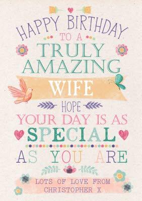 Happy Birthday Card Truly Amazing Wife Moonpig