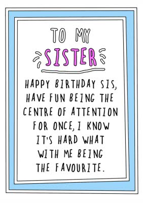 Personalised Birthday Cards For Your Sister Moonpig