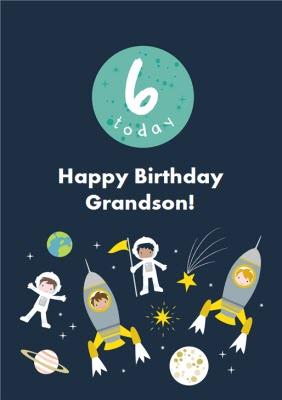 James Ellis Spacekids 6 Today Grandson Birthday Card Moonpig