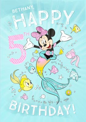Disney Minnie Mouse Birthday Card Happy 5th Birthday Moonpig