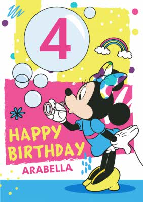 Disney Mickey And Friends Personalised 4th Birthday Card Moonpig
