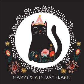 Black Kitty Cat Personalised Name Happy Birthday Card Moonpig