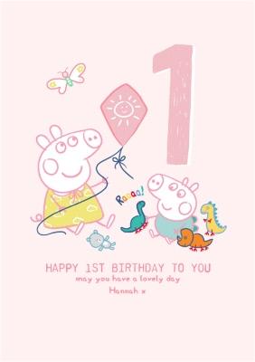 Peppa Pig And George Happy 1st Birthday Card Moonpig