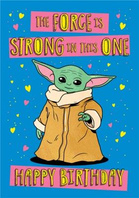 Star Wars The Mandalorian Force Is Strong Yoda Birthday Card Moonpig