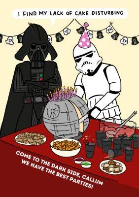 Star Wars Funny Birthday Card I Find My Lack Of Cake Disturbing Moonpig