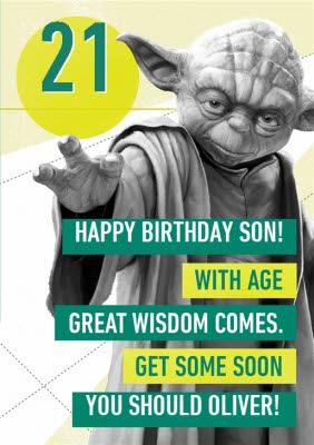 Disney Star Wars Yoda 21st Birthday Card For Son Moonpig