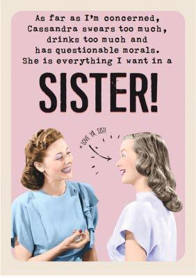 Love Ya Sis Funny Sister Birthday Card Moonpig