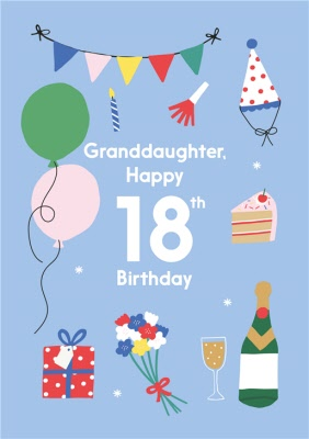 Illustrated Cute Party Balloons Granddaughter Happy 18th Birthday Card Moonpig