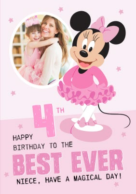 Disney Minnie Mouse Photo Upload 4th Birthday Card Best Ever Niece Moonpig