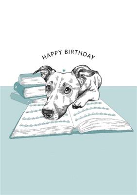 Modern Cute Dog Illustration Book Lover Birthday Card Moonpig