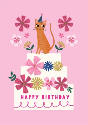 Happy Birthday Cat And Cake Floral Card Moonpig