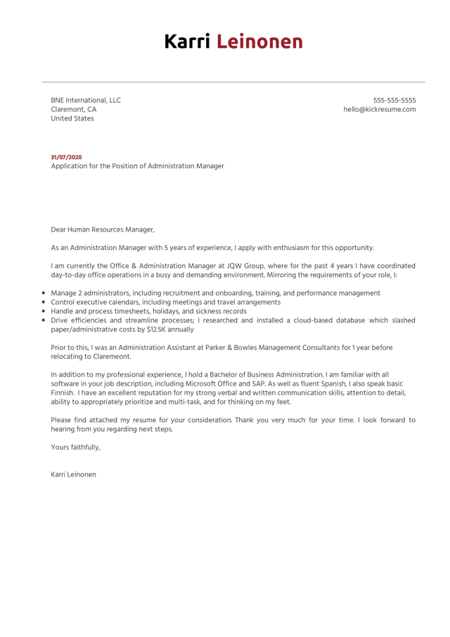 Administration Manager Cover Letter Example  Kickresume