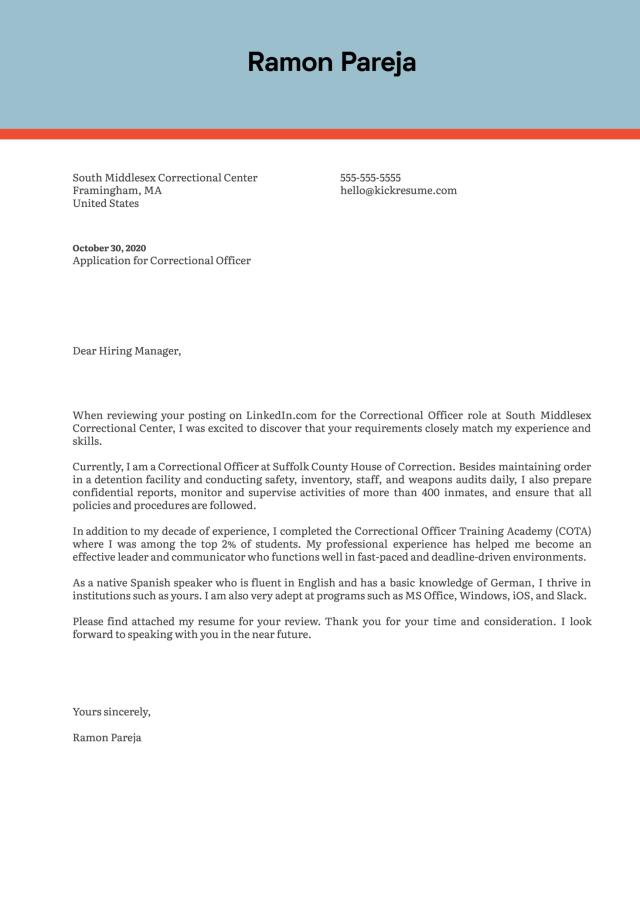 Correctional Officer Cover Letter Sample  Kickresume