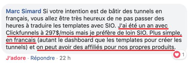 commentaire sur le groupe facebook
