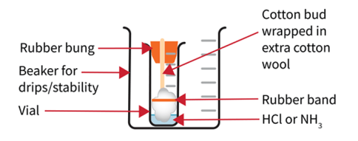 A diagram of a vial with cotton wool, liquid and a rubber bung inside a beaker