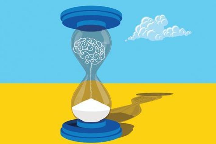 An illustration of a sand brain running through an hourglass