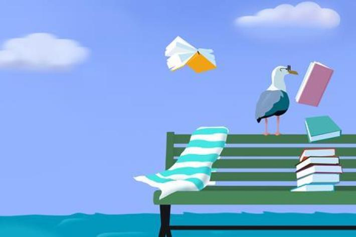 An illustration of a seagull in glasses on a seaside bench reading books as they fly away
