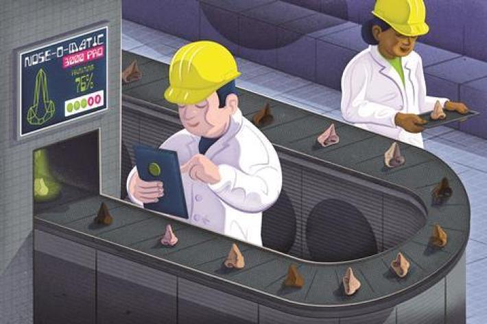 A cartoon of scientists working in a factory making human noses