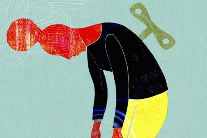 An illustration of a woman bent over tired with a clockwork key in her back