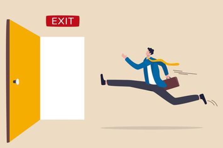 A cartoon of a man leaping towards an open exit