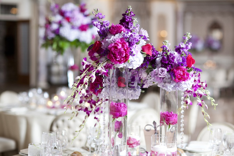 Hot Pink & Purple Centerpieces