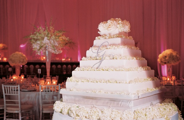 Moroccan   Middle Eastern Themed Wedding in Los Angeles   Inside         White square cake with cream petals
