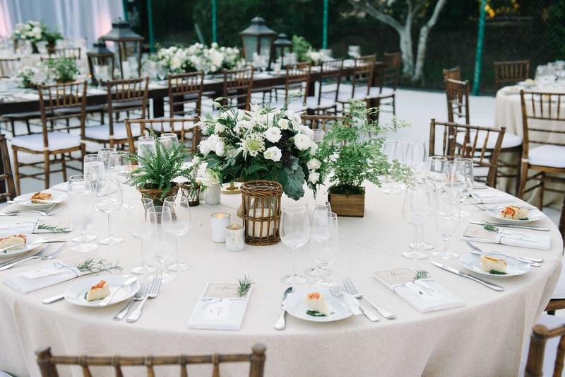 Reception Dcor Photos Round Tablescape Green Amp White