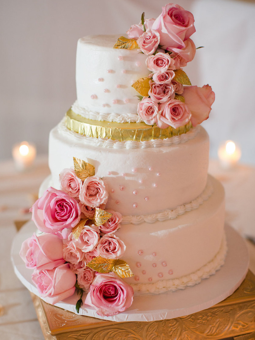 Wedding Cake Ideas  Small One   Two   and Three Tier Cakes   Inside     White pink and gold small wedding cake