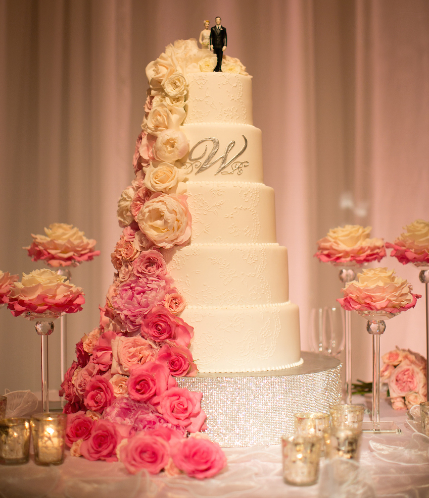 Wedding Cake Displays  Sparkling Crystal Cake Stands   Inside Weddings Cake pedestal with pave crystals