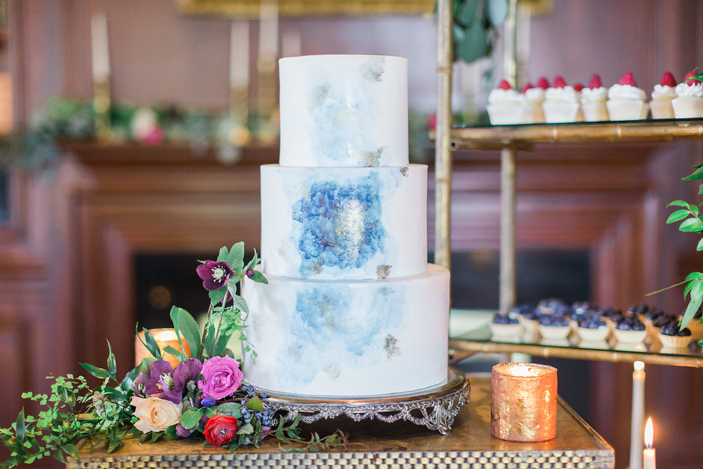 Wedding Cake Ideas  Nontraditional Wedding Cake Decorations and     Three tier white wedding cake with light blue and silver watercolor details