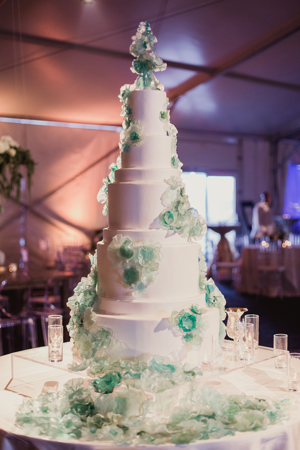 Wedding Cake Ideas  Nontraditional Wedding Cake Decorations and     White tall wedding cake with blue and green clear flower designs art  inspired