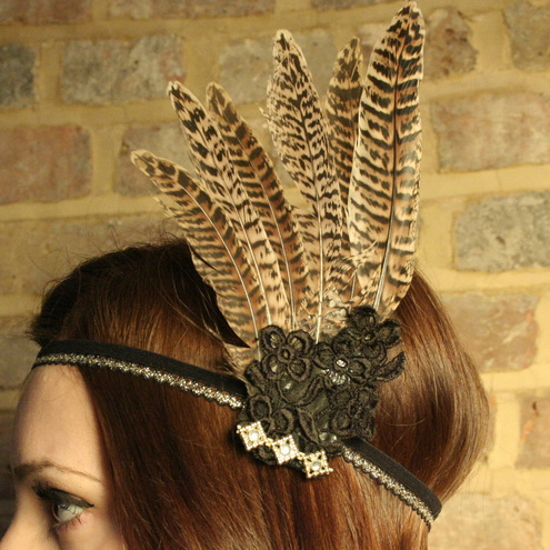 Large Pheasant Feather Hairband