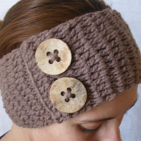 Crochet boho headband headwrap - brown