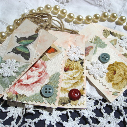 Shabby Chic Gift Tags - PollyKrafts