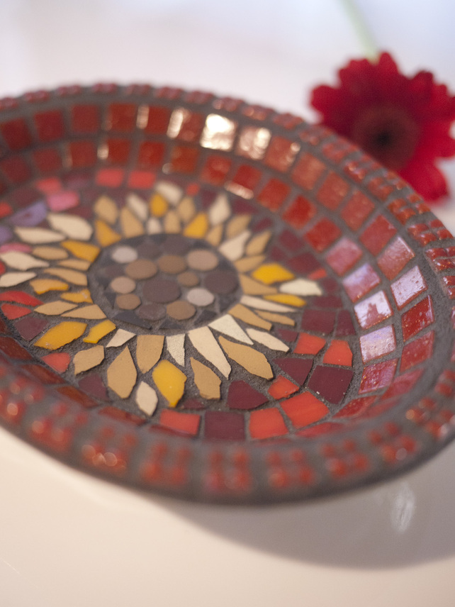 (Made to order) Mosaic Sunflower Bowl by Mosaics by Jan
