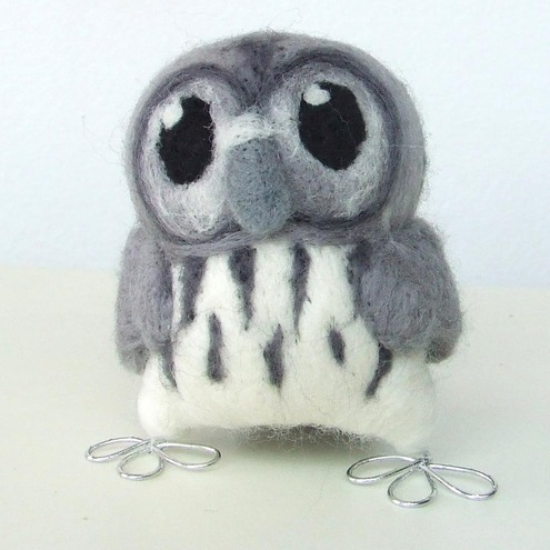 Tweet Hoot Little Grey Owl in smokey Greys
