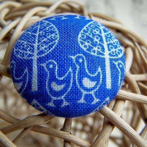 Handmade Fabric Buttons - Blue Forest Parade