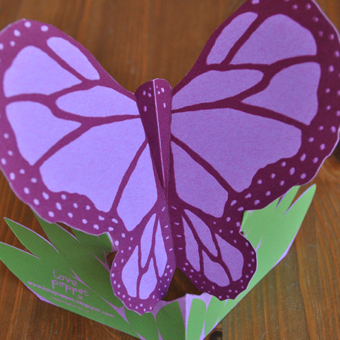 Hand-Cut, Silkscreen Purple Butterfly Card
