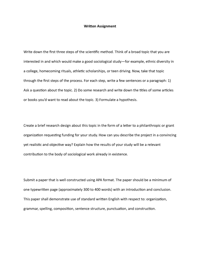 Written Assignment sociology 26 - SOC 266 - UoPeople - StuDocu