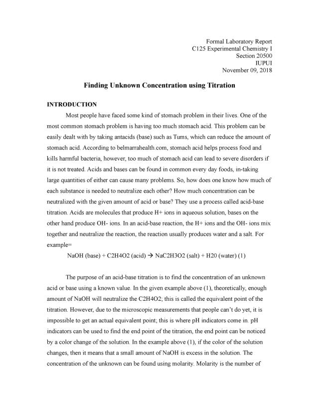 Formal Lab Report of Vinegar Lab - Chem-C16 - Experimental