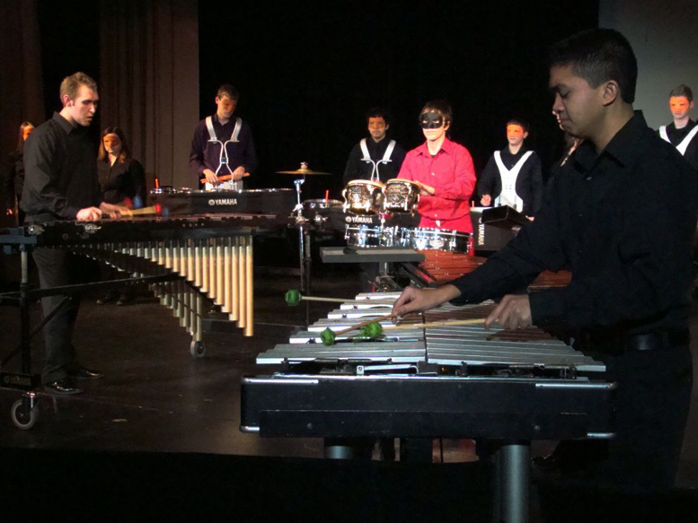 students in a drumline