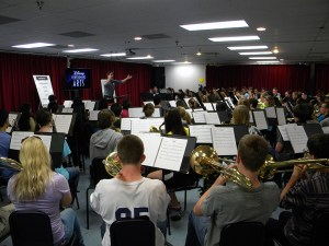 "Members of the Fremd Florida Band participate in the Disney World ""You're Instrumental"" Recording Studio Workshop on December 28th."