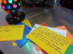 Handwritten cards recalling students' favorite memories of Sandi were placed on the blue cart during lunch hours.