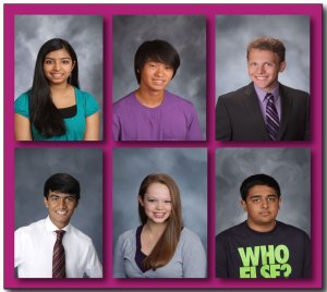 District 211 students that scored a 36 on the ACT Exam. (Top) Nikita Pillai, Glenn Huang, Robert Andrews. (Bottom) Soumik Biswas, Emma Heckelsmiller, and Milan Patel.