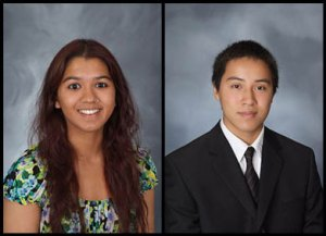 (Left) Conant High School senior Kshama Shah and Fremd High School senior Chung Ho Lee earned the National Merit Northwestern University Scholarship.