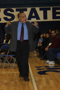 Dr. Betances addressing the English-speaking audience.