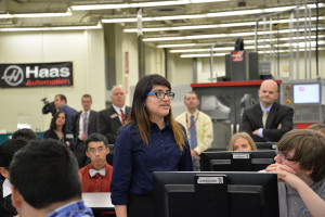 Gabriella Alvarado speaks during a discussion about why she is interested in manufacturing and the PHS program.