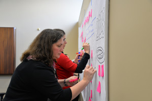 Lisa Small, District 211 associate superintendent for instruction, works on a activity during the summit.
