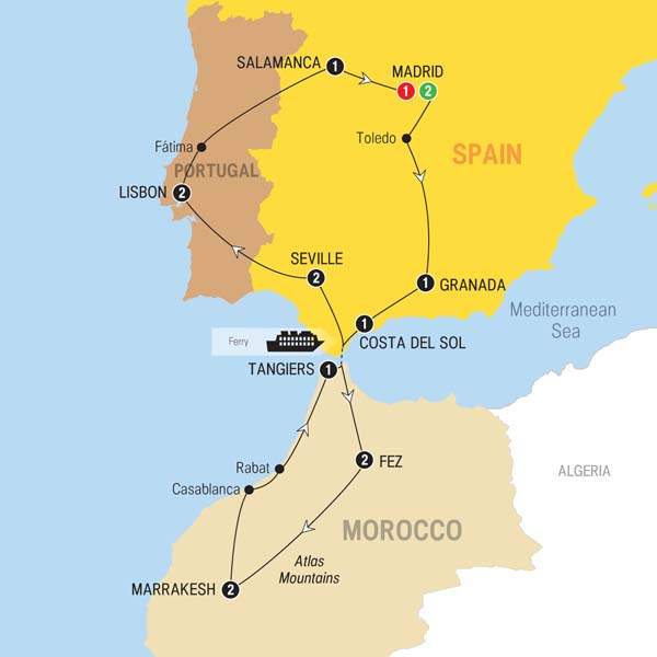Map Of Spain Morocco.Spain To Morocco Travel Time Myvacationplan Org