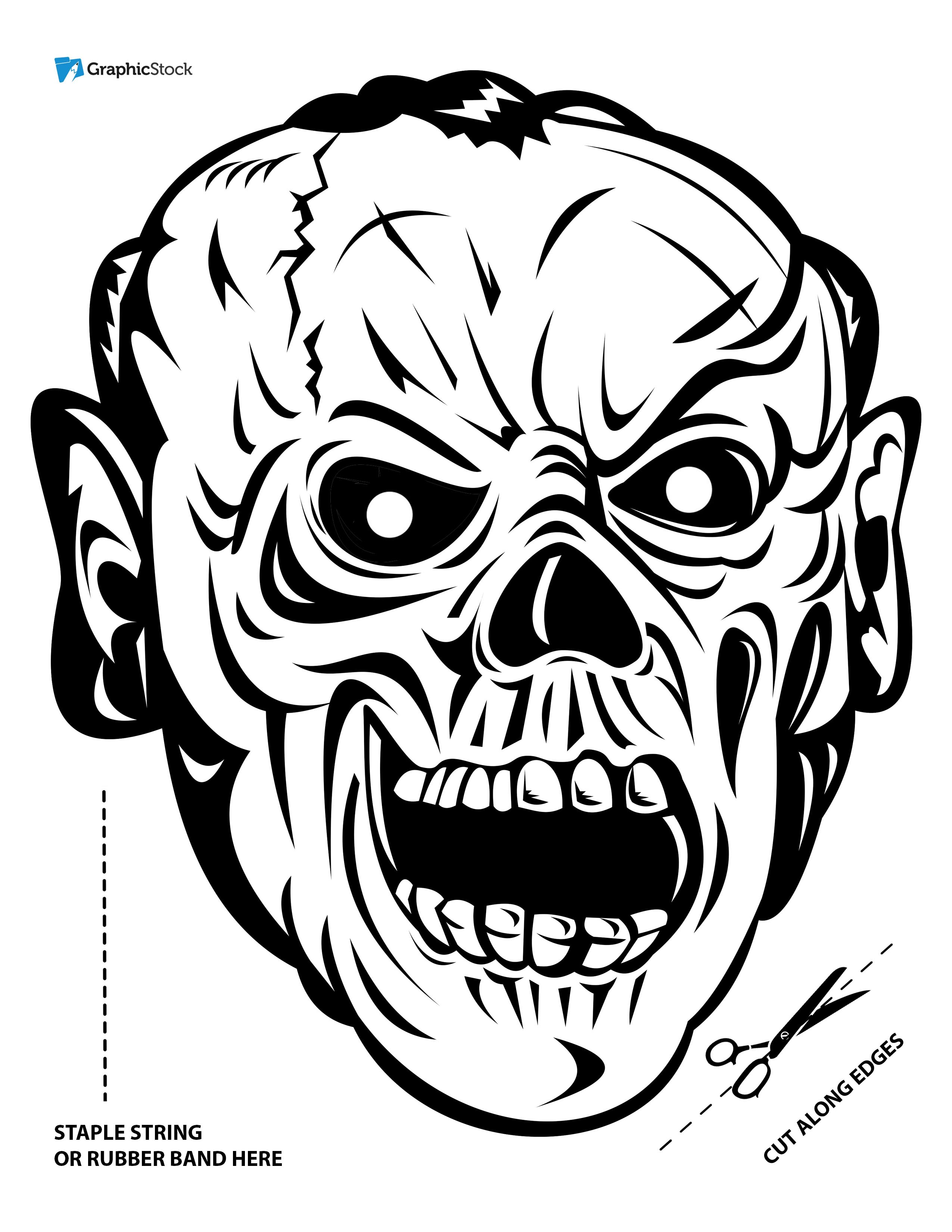 Scary Halloween Mask Coloring Pages Sketch Coloring Page